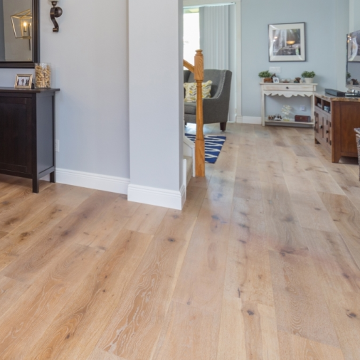 French Oak Arizona prefinished engineered wide plank wood flooring installed by Hurst Hardwoods Tampa, FL